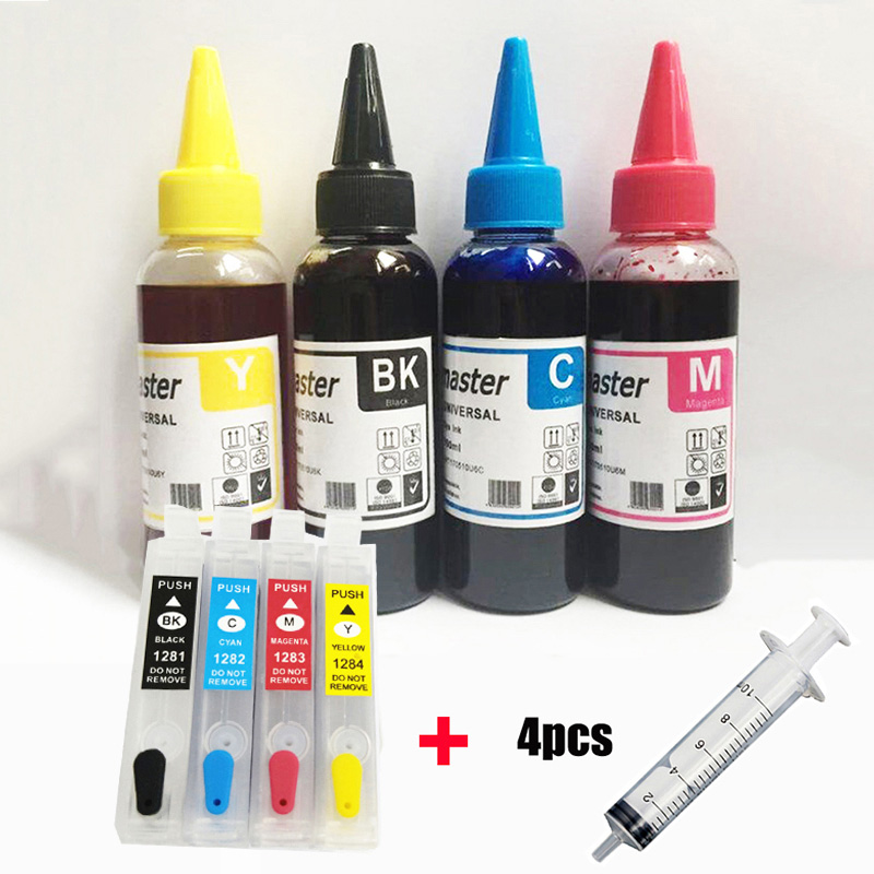 Vilaxh T1281 Refillable Ink Cartridge For Epson T1281 Stylus SX125 SX130 SX420W SX235W SX440W SX430W SX425W SX435W SX438