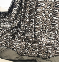 Gold Black Grey Leopard Sequin Fabric Embroidery Mesh Stretch Fabric Fashion Show Stage Party Dress Sequin Fabrics 1 yard