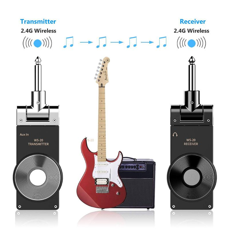 Rowin WS-20 2.4G Wireless Guitar System Rechargeable Lithium Battery Transmitter Receiver 30 Meters Transmission Range 3 Colors