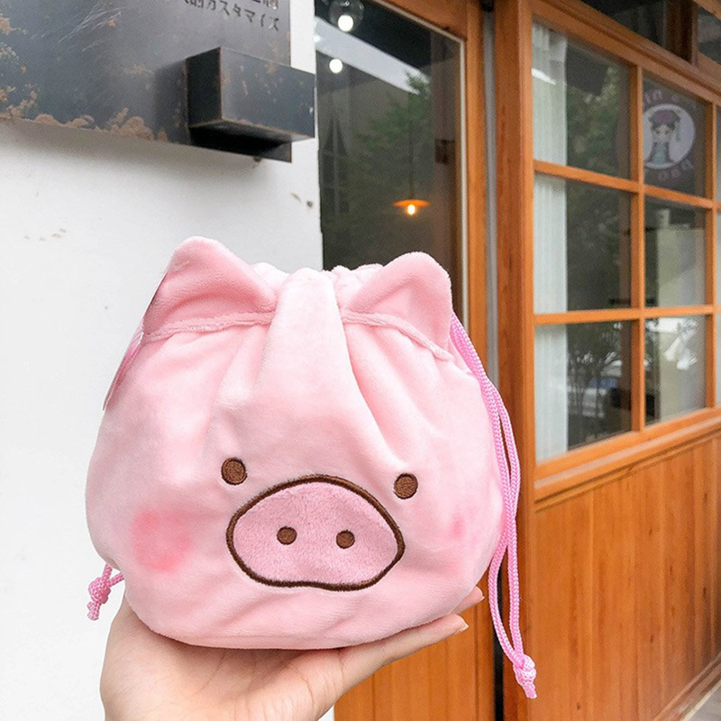 Cute Plush Toy Lovely Pig Sweet Pink Piggy Soft Storage Drawstring Bag Pocket
