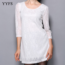 2019 Autumn Women Black Dress Hollow Out 3/4 Sleeve Casual Lace For O Neck White Vestidos