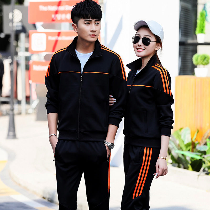 Spring And Autumn Couples Sports Set Men's New Style Stand Collar Running Casual Sports Clothing Women's Groups Activity School