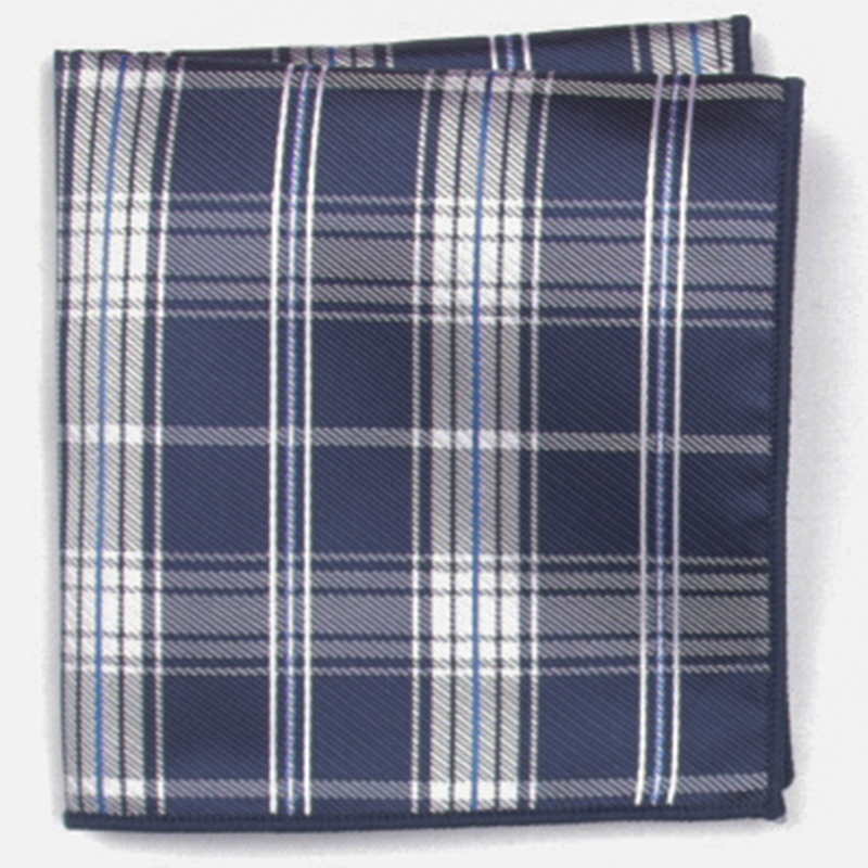 Navy Plaid Patterned Pocket Square With Patterns Handkerchief