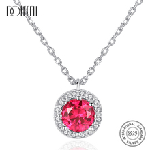 DOTEFFIL Real Round Pendant Necklaces for Women Wedding Engagement Fine Jewelry 925 Sterling Silver Collier Party helon sterling silver 925 flawless 8mm round 2 4ct natural white topaz engagement wedding ring for women trendy fine jewelry