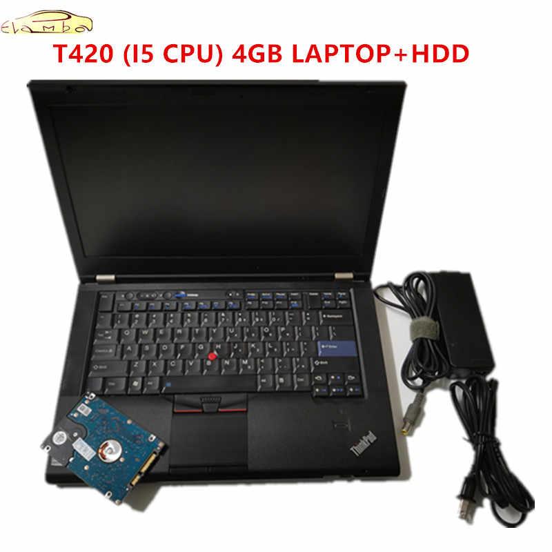 2020 حاسوب محمول تشخيصي ساخن لينوفو T420 حاسوب محمول 4GB I5 وحدة المعالجة المركزية مع الأقراص الصلبة يمكن أن تعمل لبرنامج alldata mb star c4 c5