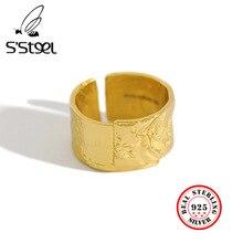SSTEEL סדיר רוק מרקם זהב טבעת נשים טבעות 925 סטרלינג כסף Anillo פלטה 925 Mujer Parure Bijoux Femme 2019 Bague