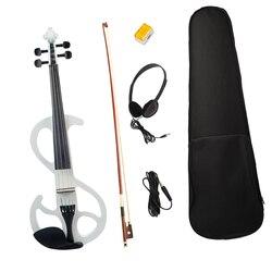 Профессиональная электрическая скрипка 4/4 с аксессуарами для скрипки (белый)
