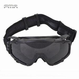 Image 1 - FMA טקטי Si בליסטי נגד ערפל משקפי עם מאוורר נגד אבק חיצוני Airsoft פיינטבול בטיחות משקפיים Eyewear עם 2 עדשה