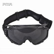 Fma Tactische Si Ballistic Anti Fog Bril Met Fan Anti Dust Outdoor Airsoft Paintball Veiligheidsbril Brillen met 2 Lens
