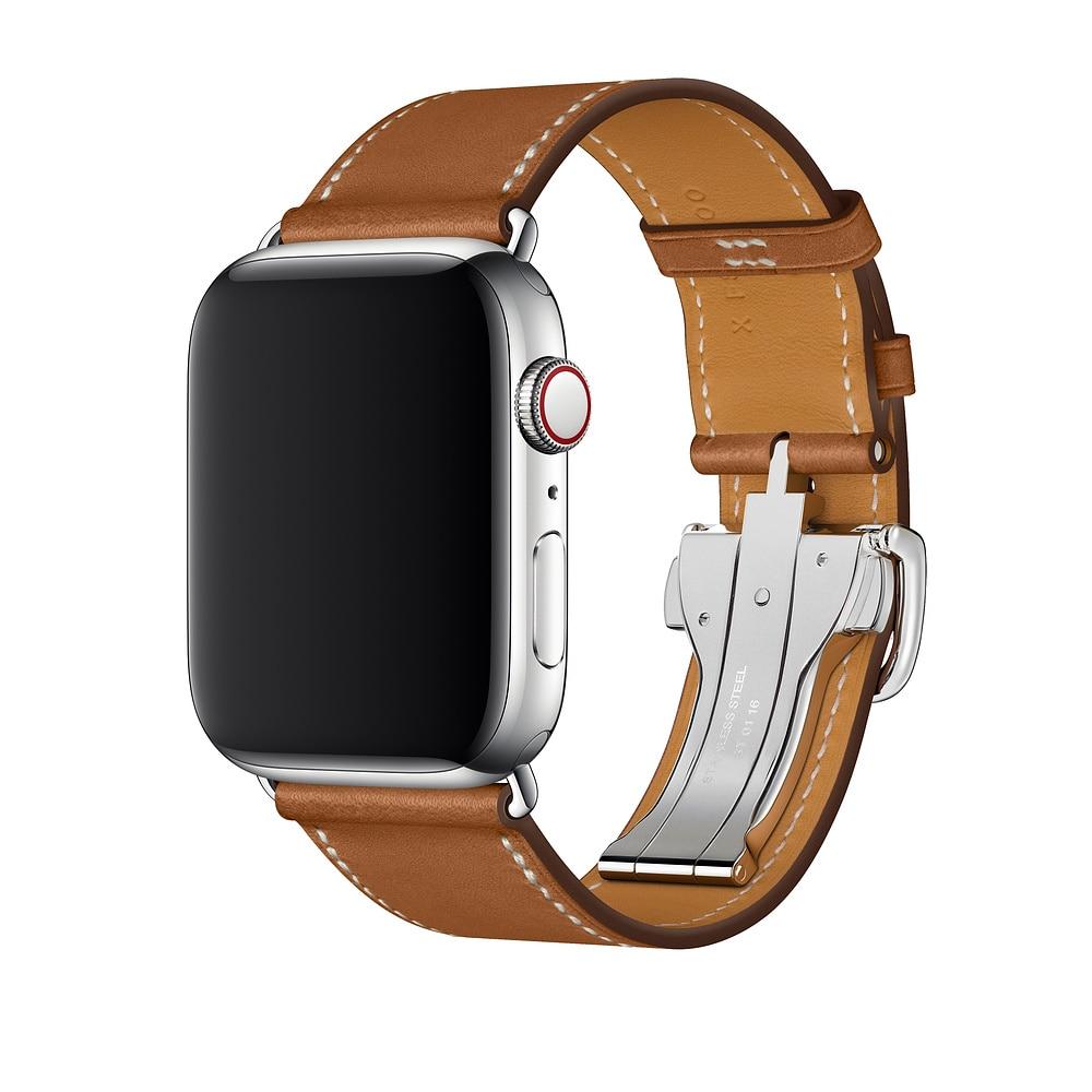 Ремешок из натуральной кожи для Apple Watch Band 6 5 4 3 2 1 SE, браслет для Apple Watch 44 мм 40 мм 42 мм 38 мм, iWatch