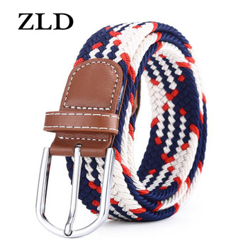 60 Colors Men Women Casual Knitted Pin Buckle Belt Woven Canvas Elastic Expandable Braided Stretch Belts  1