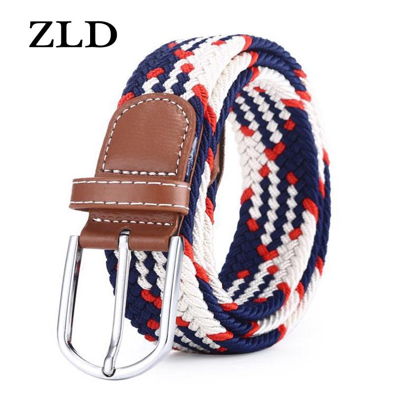 Zld 60 cores masculino feminino casual de malha pino fivela cinto tecido lona elástico expansível trançado correias estiramento cinta simples