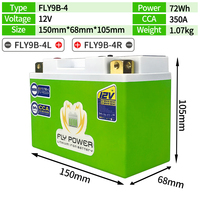 FLY9B 4 12V Motorcycle LiFePO4 Battery CCA 350A With BMS Scooter Lithium Iron Motorbike Battery Replace YT9B BS YT9B 4 GT9B 4