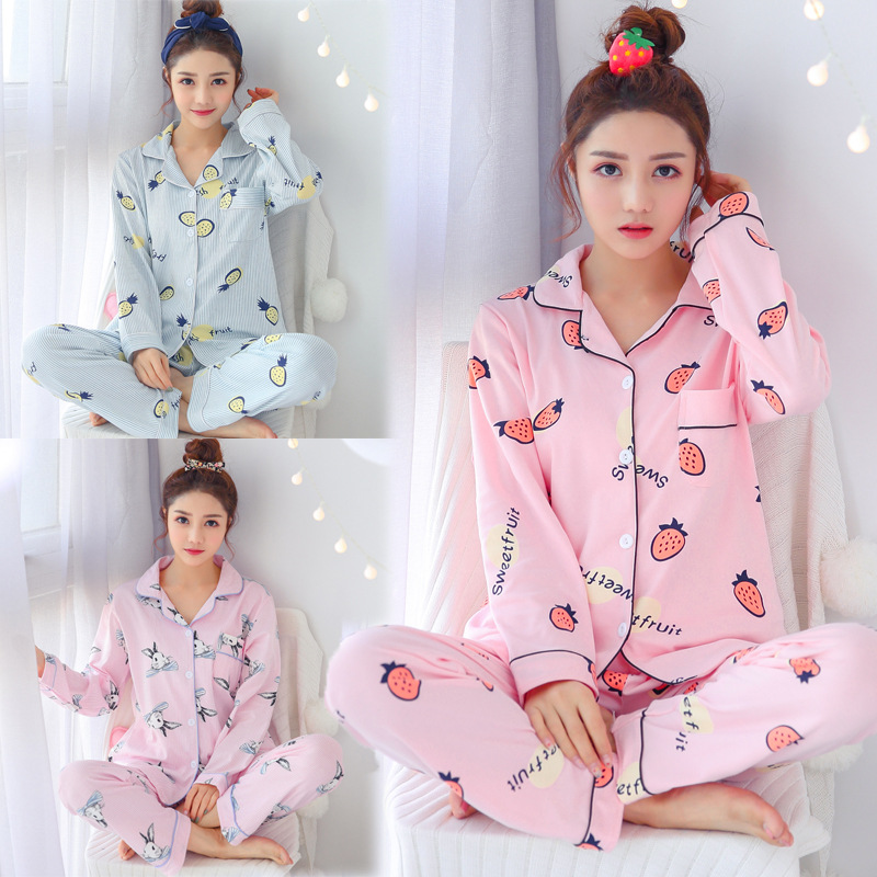 Spring And Autumn Pajamas Women's Long-sleeved Cardigan Fold-down Collar Cotton Strawberry Stripes Rabbit Students Large Size Ho