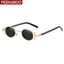 Peekaboo punk mens oval sunglasses vintage retro metal frame 2020 women