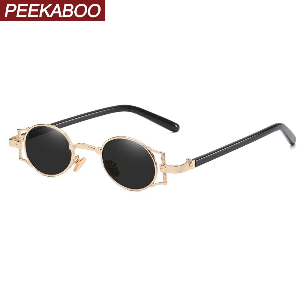 Peekaboo Punk Mens Oval Sunglasses Vintage Retro Metal Frame 2020 Women Blue Light Glasses Round Uv400 Summer Gift Items