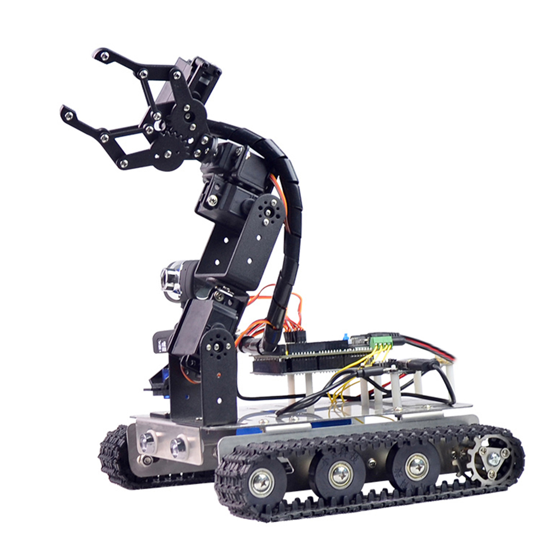 Programmable Robot DIY Wifi+Bluetooth Stainless Steel Chassis Track Tank Steam Educational Car with Arm for Raspberry Pi 4 2