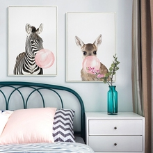 Cartoon Bubble-blowing Animals Zebra Giraffe Wall  Canvas Painting Nordic Posters And Prints Pictures For Living Room Decor
