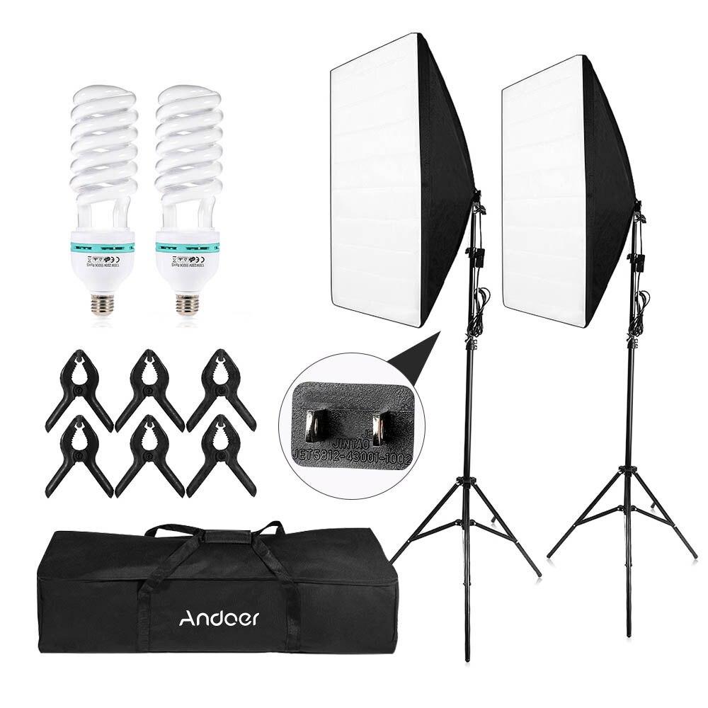 Andoer-2 photographie Studio Cube parapluie Softbox éclairage lumière tente Kit Photo vidéo équipement