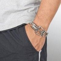 ZPAMS 316L Stainless Steel Mens Bangles Vintage Skeleton Silver Color Bangles Bracelets for Men Hyperbole Personalized Bangle