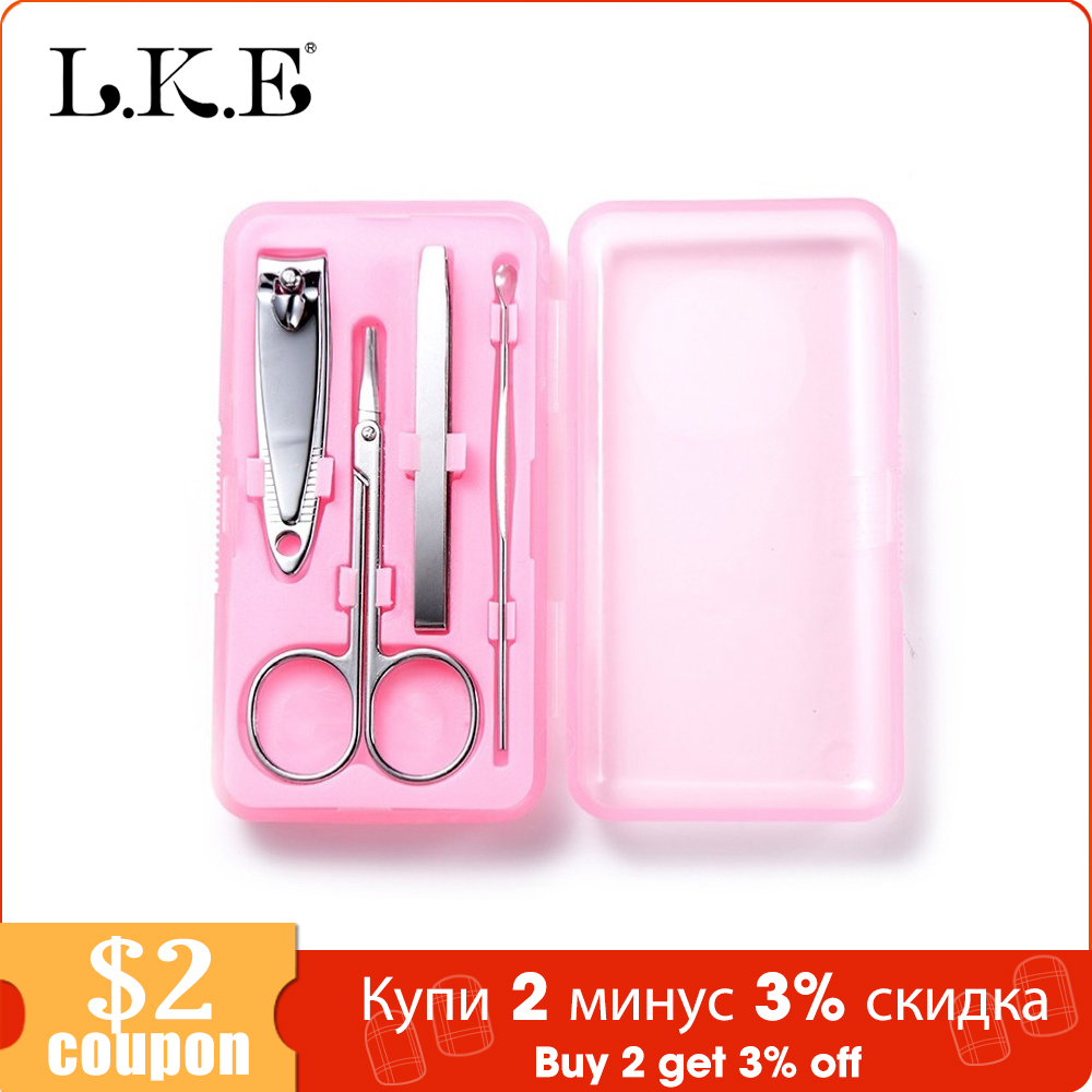 LKE 4 Pcs/set Nail Tools Sets & Kits Nails Clipper Kit Manicure Set Clippers & Trimmers Pedicure Scissor Makeup Sets Tools