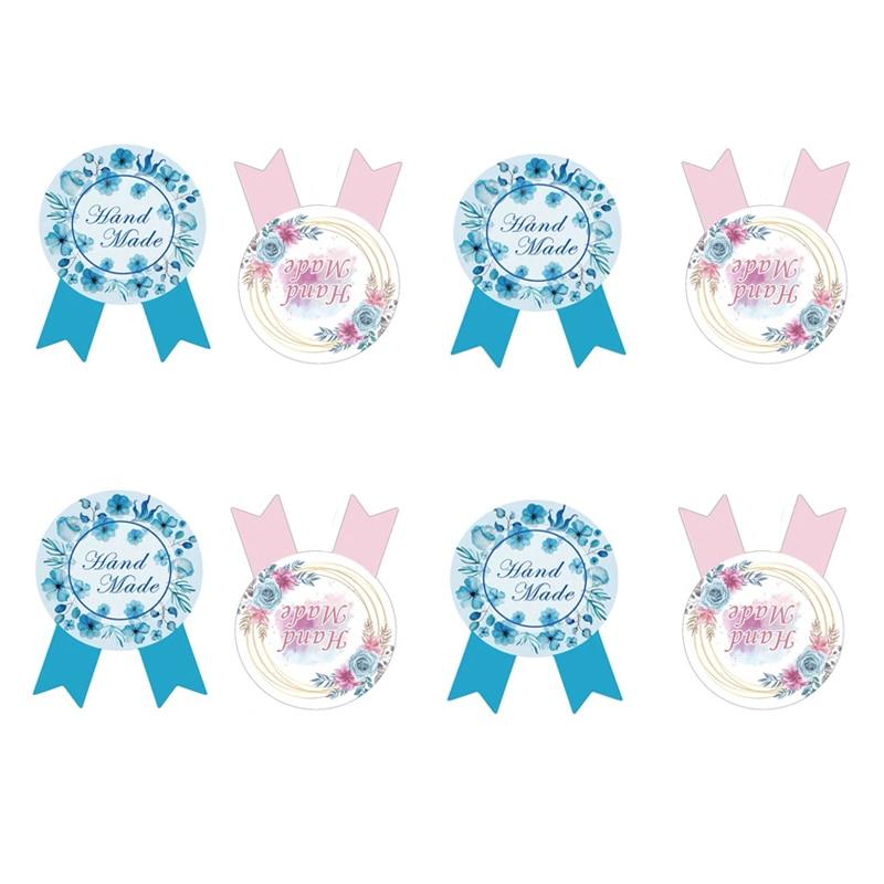 80PCS/Lot  HandMade Medal Shape Seal Sticker Baking Package Paper Labels DIY Gifts Decoration Label