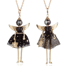 HOCOLE Handmade Long Chain Doll Necklaces For Women Fashion Alloy Wing Black Dress Girls Kids Necklace Statement Jewelry