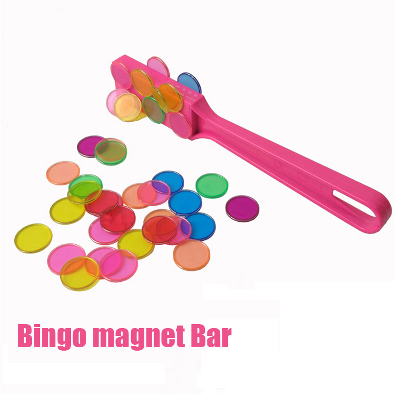 Magnetic Stick Tiles With Metal Loop 100pcs Baby Toy Educational Montessori Learning Toys Bingo Chip Set With Transparent Round