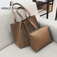 Herald Fashion Soft Leather Women Bag 2PCS Set Female Shoulder Bags Large Capacity Bags Set Handbag Casual Tote Bags sac a main стоимость