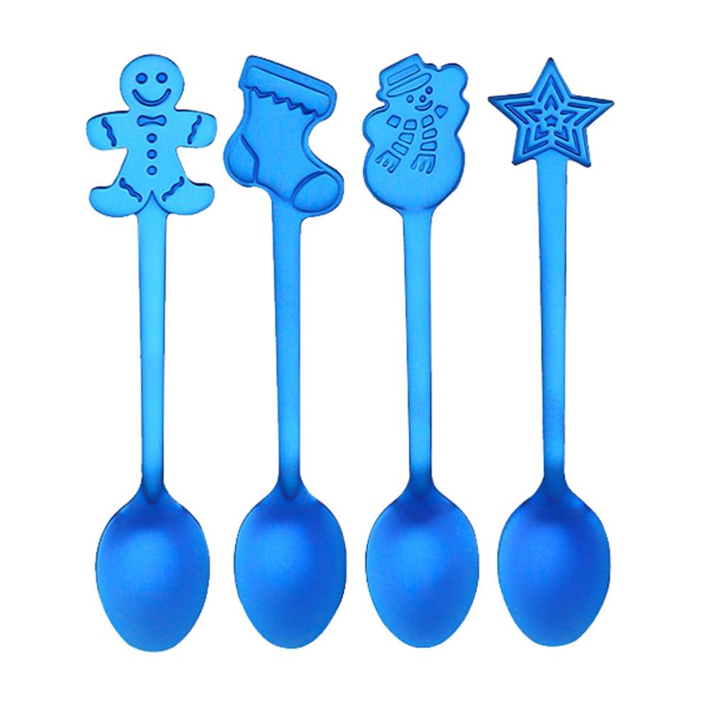 4 шт Рождественская тематика красочная ложка из нержавеющей стали ложка для размешивания кофе кухня украшение дома посуда# YL10 - Цвет: Blue