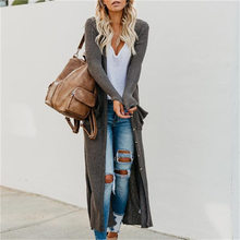 2019 Autumn Winter Women long sweater Coat fashion grey Apricot button pocket long sleeve Jacket Female Outerwear Knit cardigan(China)