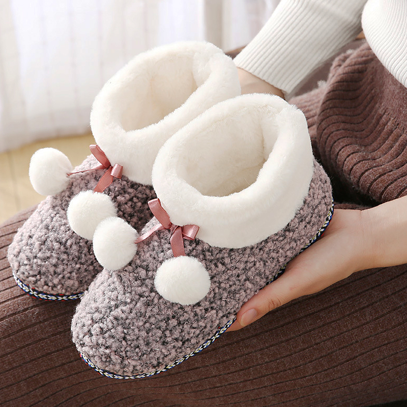 Cozy house slippers Parent-child shoes winter warm women slippers Butterfly Knot wool Plush ball Furry slippers indoor Unisex