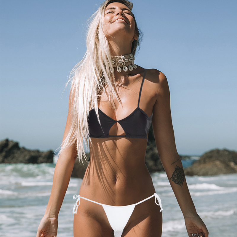 Sexy Solid Brazilian Bikinis Women Hollow Bandage Swimsuit Beachwear Summer Low Waist Bathing Suit Female Swimwear Biquini