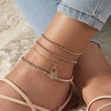 Boho Shiny Rhinestone Zirconia Multi Layered Anklet Bracelet Lxuruy Bling Crystal Lock Barefoot Sandals ankle Foot Beach Jewelry цена 2017