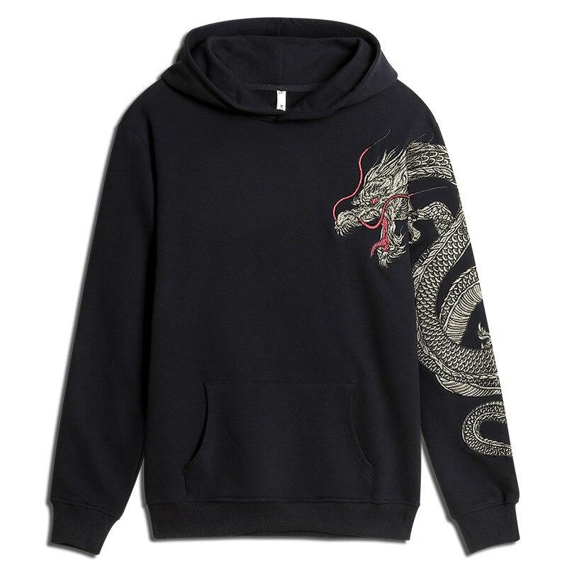 Дракон вышивка флис хип хоп топы гигантская популярная худи для мужчин повседневная куртка с капюшоном национальные животные хлопковые то...