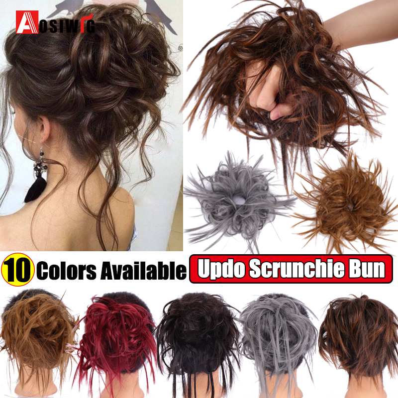 AOSI Messy Scrunchie Chignon Hair Bun Straight Elastic Band Updo Hairpiece Synthetic Hair Chignon Hair Extension For Women