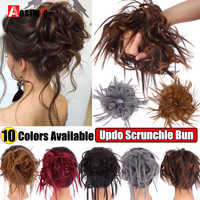 AOSI Messy Scrunchie Chignon Hair Bun Straight Elastic Band Updo Hairpiece Synthetic Hair Chignon Hair Extension For Women