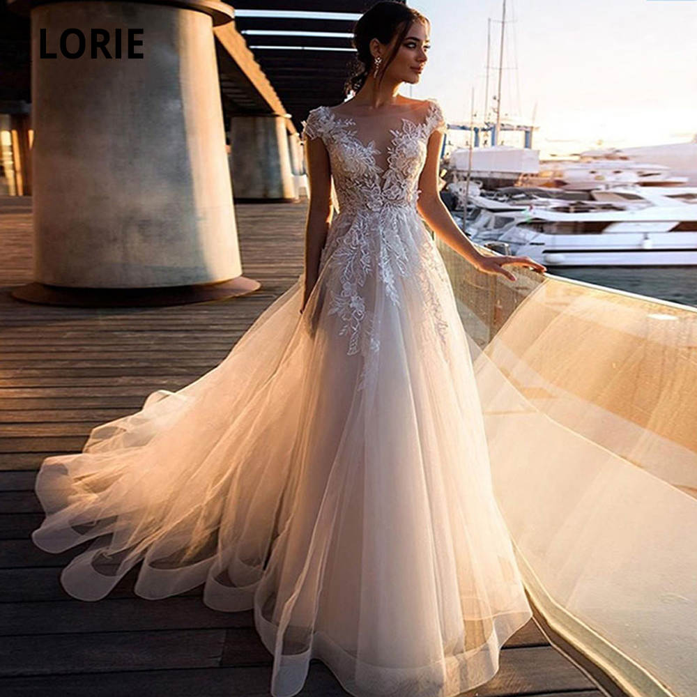 LORIE 2020 Beach Wedding Dresses Boho Appliques Lace Bridal Gowns Vintage Tulle Illusion Cap Sleeve Plus Size Princess Marriage