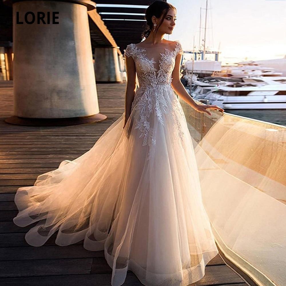 LORIE 2020 Beach Wedding Dresses Boho Appliques Lace Bridal Gowns Vintage Tulle Illusion Cap Sleeve Plus Size Princess Marriage