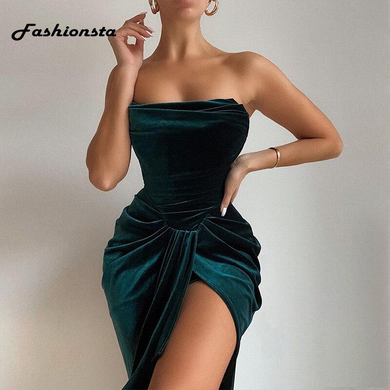 Fashionsta Samt Liebsten Midi Kleid Sexy Solide Hohe Split Bodycon Party Club Sexy Kleider Sommer Casual Vestidos Neue 2021
