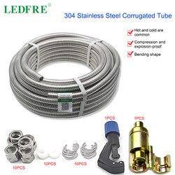 Ledfre 304 Rvs Metalen Gegolfde Buis Intrekbare Diy Pijp Nuttig Sanitair Slang Connector 3/8 1/2 3/4 1 LF16006
