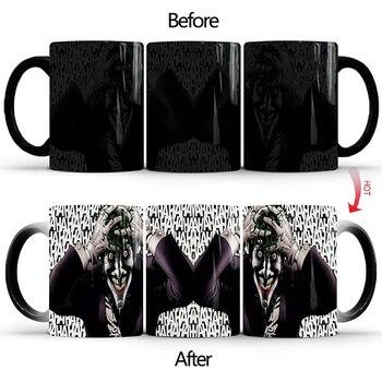 1 Uds. Nuevo 350ml creativo Magic Color cambiante Joker taza té leche Taza de cerámica para café novedad regalo para niños amigos cumpleaños
