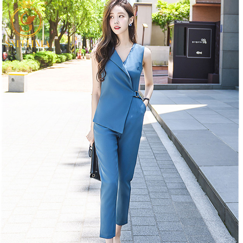 SMTHMA Sleeveless Womens Jumpsuits Female High Waist Pencil Trousers 2019 Summer Sleeveless Office OL Clothes