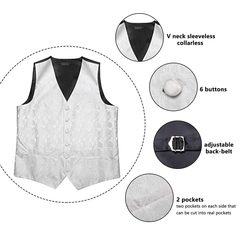 男性の白ファッションシルクウェディング男性用ベストベスト男性ボウタイハンカチカフスネクタイセットスーツタキシード DiBanGu MJ-118