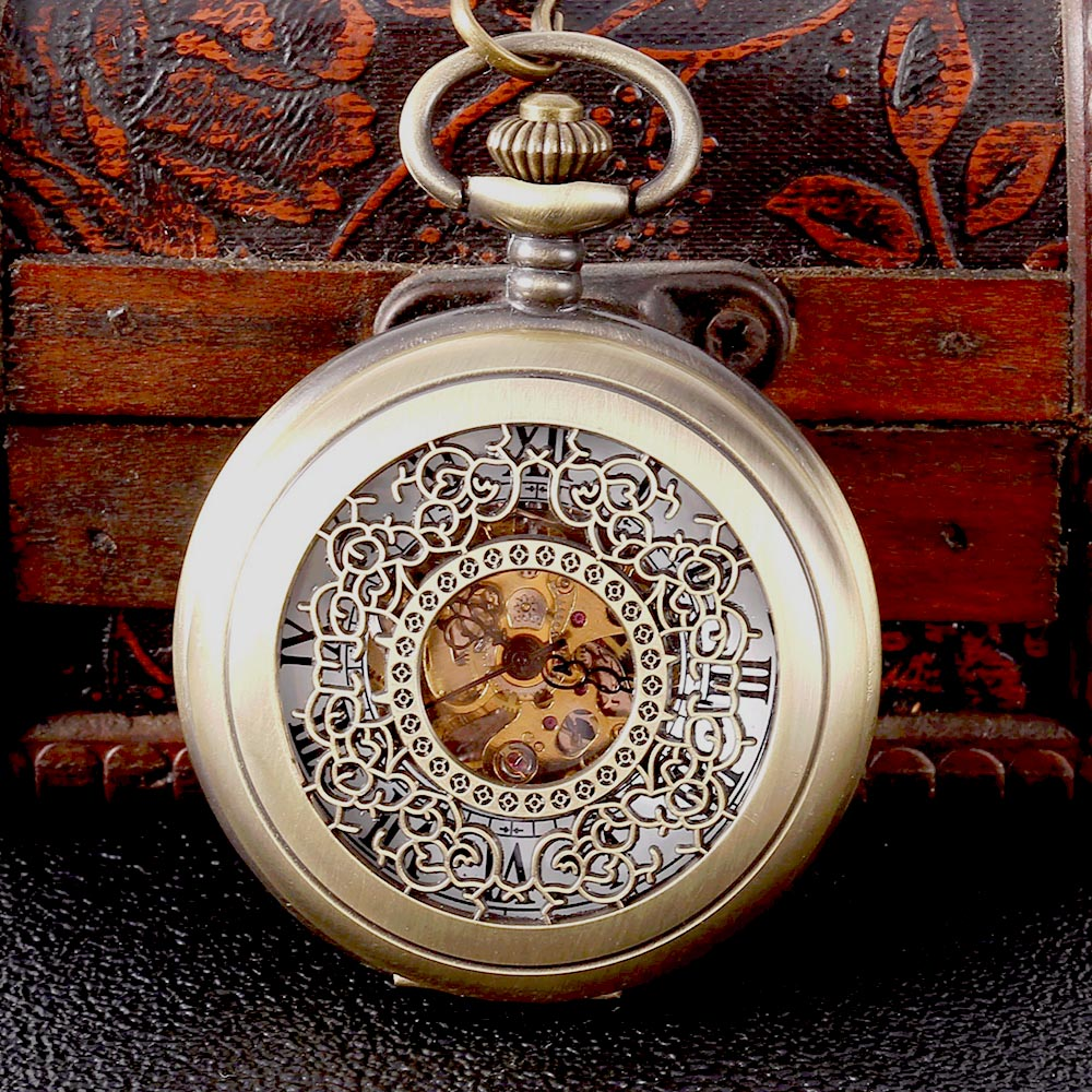 Copper Color Hollow Carved White Surface Scale Mechanical Pocket Watch