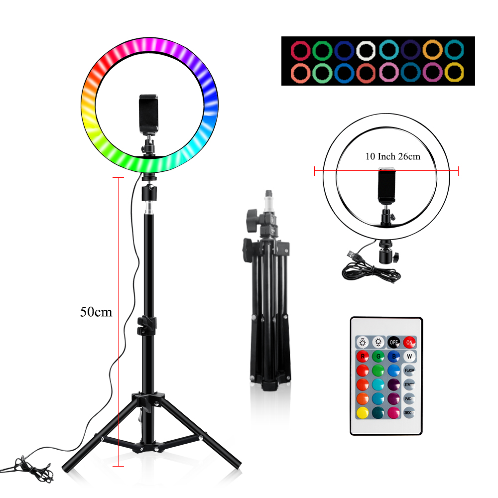 Ha0f5b28af42d4bc18fa493cc98fec344A 10 Inch Rgb Video Light 16Colors Rgb Ring Lamp For Phone with Remote Camera Studio Large Light Led USB Ring 26cm for Youtuber