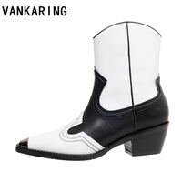 fashion popular medium cylinder ankle boots female pointed point embroidery medium high heel cowboy boots female riding boots