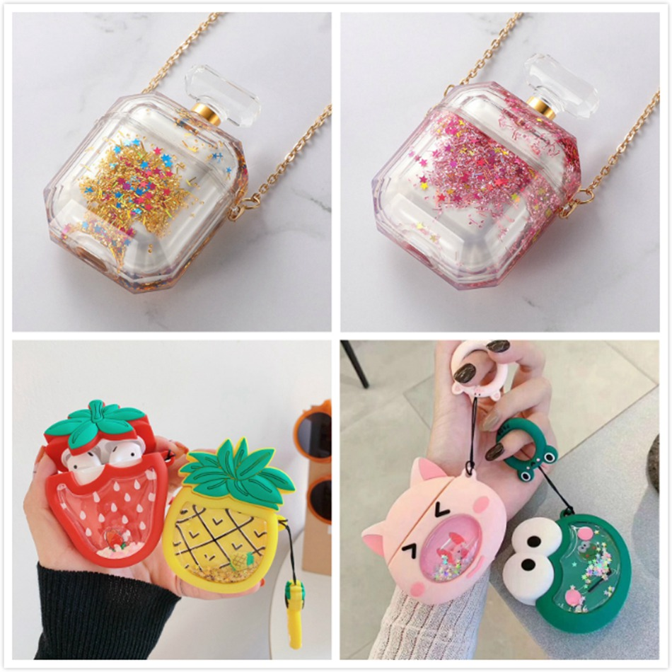 3D Liquid Cute Earphone Case For Apple Airpods 2 Case Glitter Perfume Cover For Air Pods Case Cat Headphone Earpods Bling Strap
