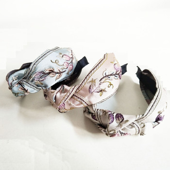 Embroidered Flower Knot Hairbands  For Women Hair Accessories Girls Band Crown Headbands