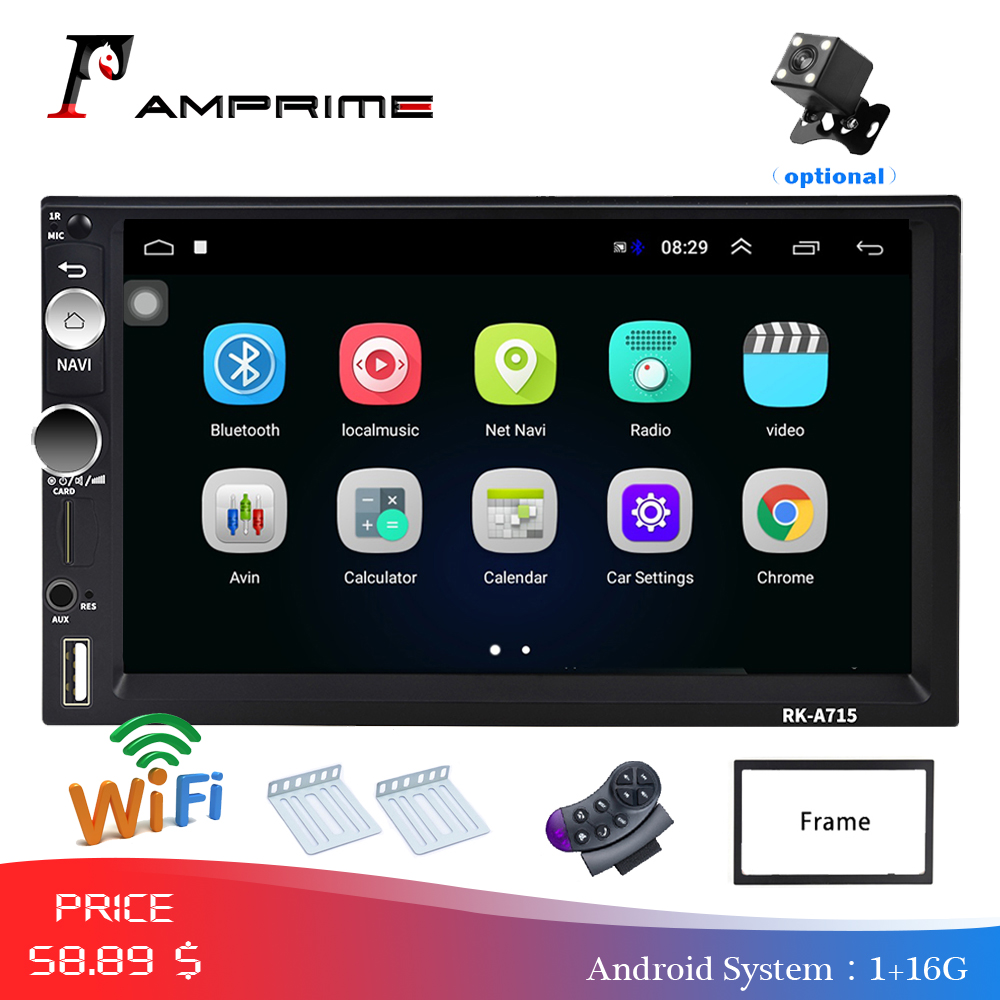 AMPrime 2din Autoradio Android Car Multimedia Player 2 din Universal GPS Mirrorlink Car Radio Wifi Bluetooth Stereo Audio Player image